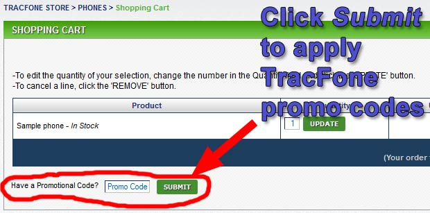 Click Submit to get the discount with the TracFone promo codes