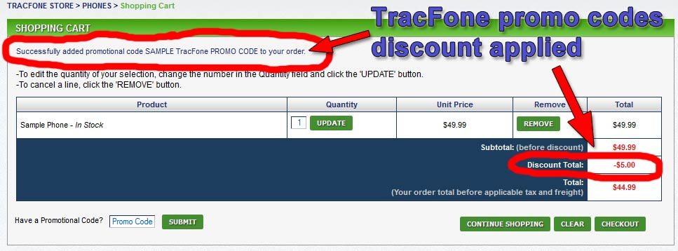 After applying TRacFone promo codes, the codes are verified and the discounts are displayed.
