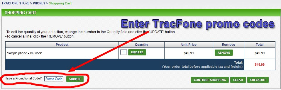Enter TracFone promo codes in the box below the  list of items.