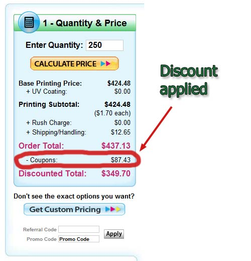 Discount is clearly listed after entering Printing For Less Promo Code